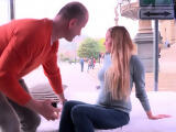 Blonde cutie Candy Alexa fisrt time fucking in public