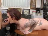 Lovable Roxii Blair with firm tits chokes on a big one