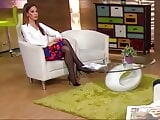 Long legs in black pantyhose on TV 9