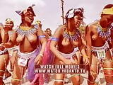 Topless African girls dancing outside