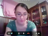 Nerdy girl with glasses masturbates with a toy for her bf on skype