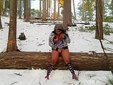 Ebony Public Masturbation in the Snow