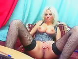 Blonde Emika showed his big breasts and pussy