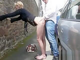 French mature Marie Helene fucked in the street