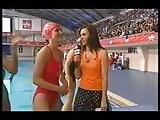 Kirsty Gallacher in tight red swimsuit