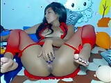 Booty latina teen in red lingerie anal fingering