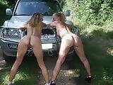 Lesbian teen tries outdoor sex with milf
