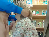 Amateur blowjob in a shop
