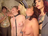 Slaves banged in public dungeon