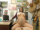 Nasty tattooed babe nailed by pawn dude in the backroom