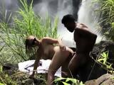 Beautiful white chick gets blacked by waterfall