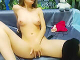 Sweet and beautiful model Annyka Doll lifted his red dress