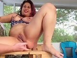 Loud Moaning,Pussy Squirting, Rough Pounding on Random Beach House Deck!
