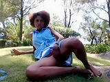 Camgirl plays in the park