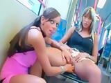 Sexy Sluts put on a show in the Tram