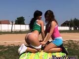 Need a ride home first time Sporty teens eating each other